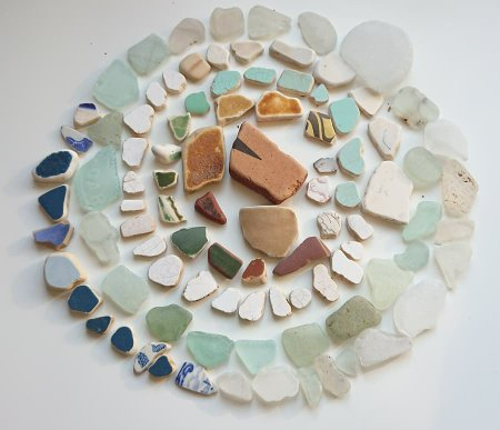 Seaglass and pottery found on the beach