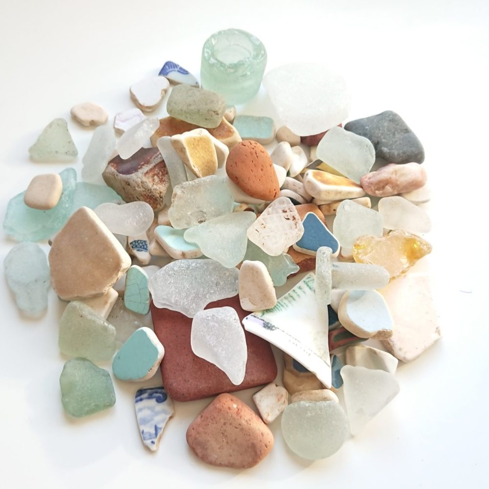 Seaglass collected on the beach