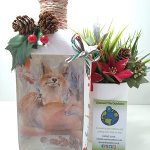 Fox Light up Decoupage Bottle