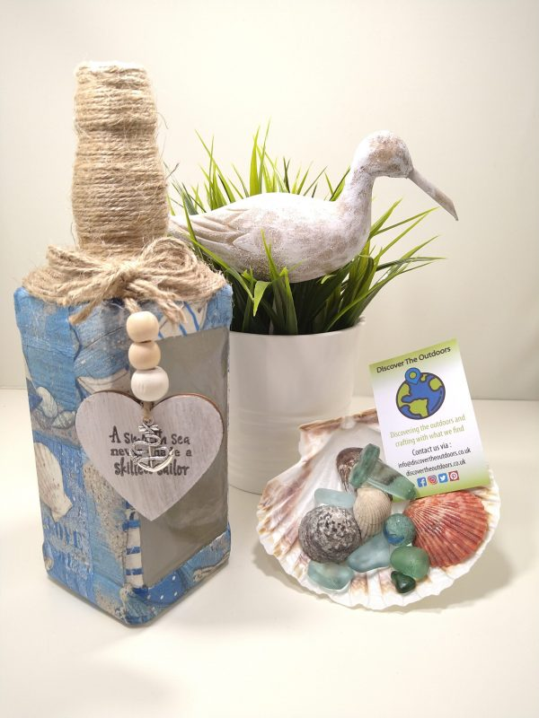 Beach Themed Decoupaged Light Bottle